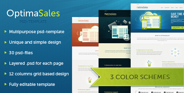 OptimaSales Bussines & Technology Template PSD