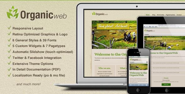 Organic Web - Environmental WordPress Theme Nonprofit