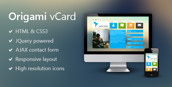 Origami - Metro Inspired Vcard Template Personal
