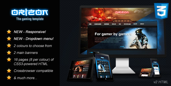 Orizon - The Gaming Template HTML version Technology