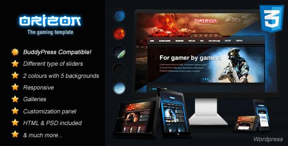 Orizon - The Gaming Template WP version WordPress Technology
