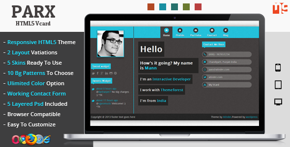 Parx - Responsive Vcard Template Personal