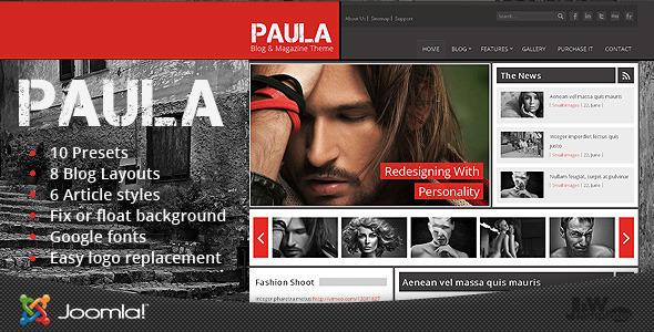 Paula - Blog & Magazine Joomla Theme Blog/Magazine