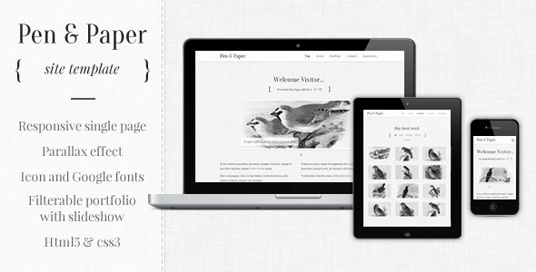 Pen and Paper - Responsive Site Template Creative
