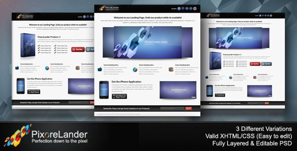 PixoreLander - Premium xHTML/CSS Landing Page LandingPages Landing Page