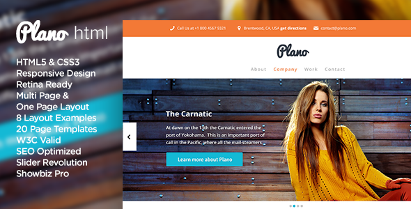 Plano - Flat Design Responsive HTML5 Template Creative