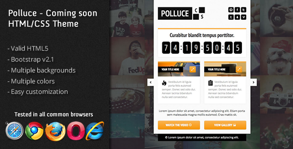 Polluce - Unconventional coming soon HTML Them Template
