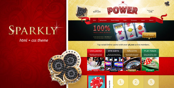 Power Jackpot - glossy and shiny HTML theme Template Entertainment
