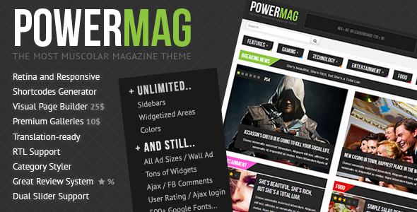 PowerMag: The Most Muscular Magazine/Reviews Theme WordPress