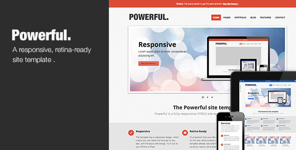 Powerful - Responsive, Retina-ready HTML5 template Creative