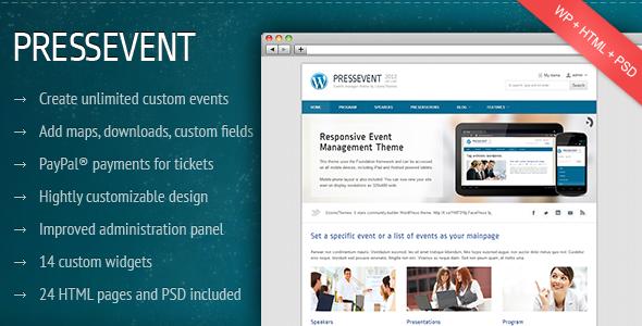 PressEvent - Event Management Theme WordPress Corporate