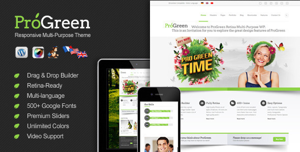 ProGreen - Retina Responsive Multi-Purpose Theme WordPress