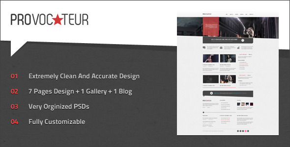 Provocateur - Creative PSD Template Creative PSDTemplates