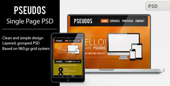Pseudos Single Page PSD Template Creative