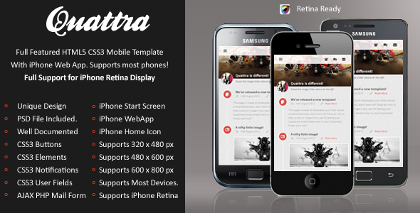 Quattra Mobile Retina | HTML5 & CSS3 And iWebApp Template