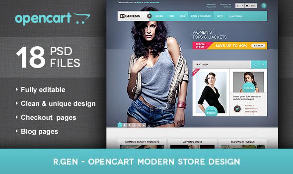 R.Gen - OpenCart Modern Store Design PSD Retail
