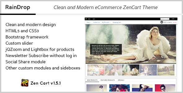 RainDrop - Clean & Modern eCommerce ZenCart Theme