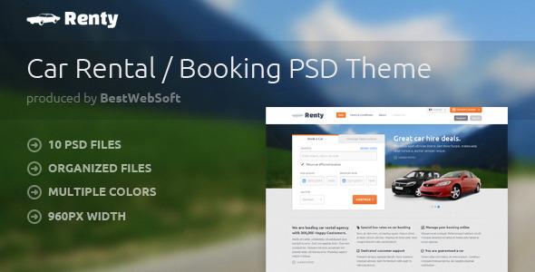 Renty - Car Rental & Booking PSD Template Retail