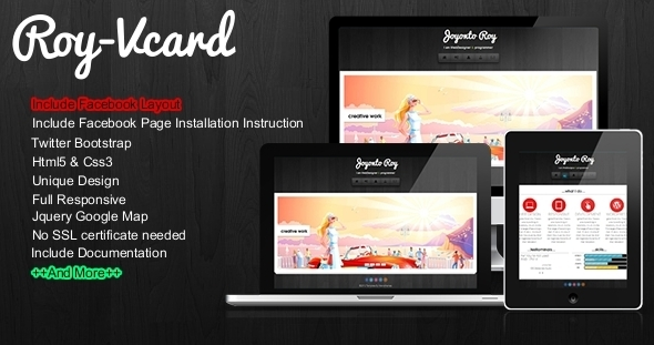 Roy - Responsive Vcard With Facebook Layout Template Personal