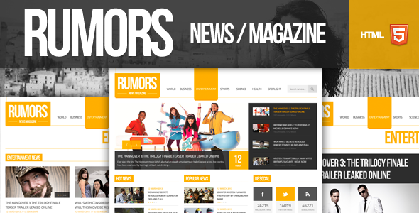 Rumors - News / Magazine Responsive HTML5 Template Miscellaneous
