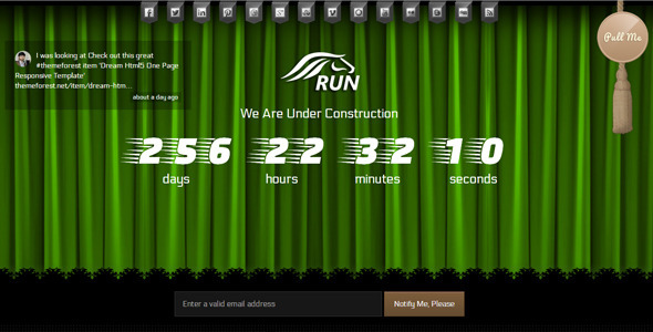 Run Coming Soon html5 Template Specialty Page