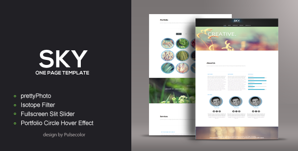SKY HTML/CSS One Page Template Creative