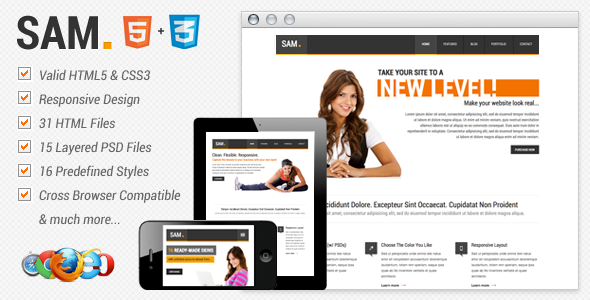 Sam Premium HTML Template Corporate