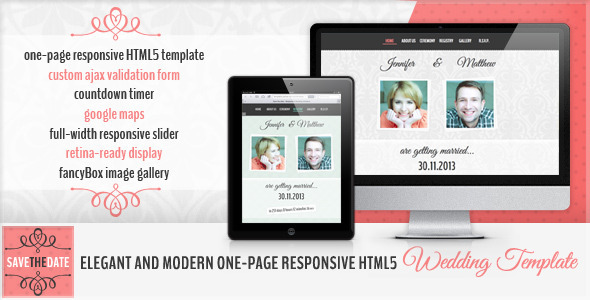 Save the Date - HTML5 Wedding Invitation Template Entertainment