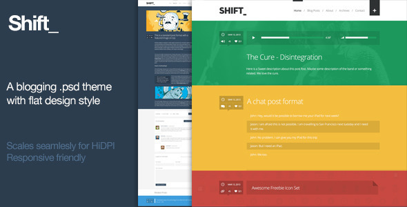 Shift - A blogging .psd theme with flat design Miscellaneous