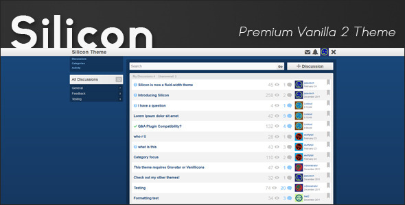 Silicon - Premium Vanilla 2 Theme Forums Vanilla