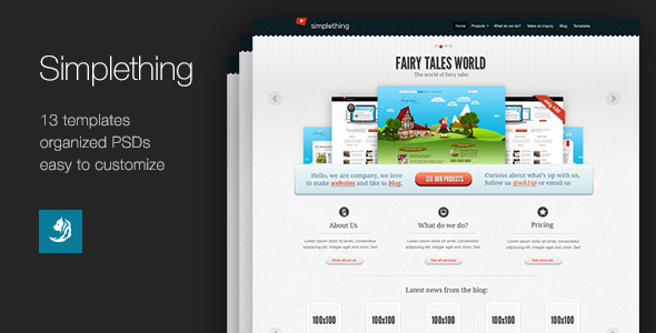 Simplething - a clean PSD template Creative