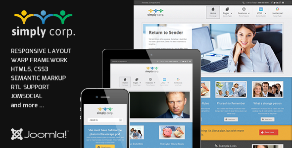 Simply - Responsive Corporate Joomla JomSocial Template Corporate