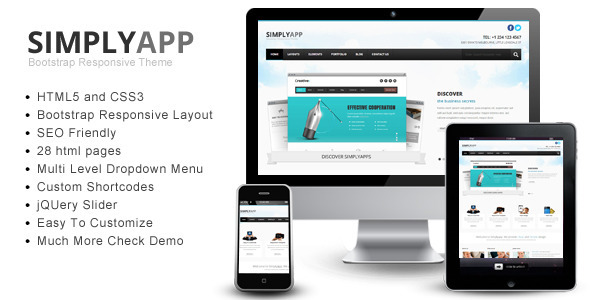Simplyapp – Bootstrap Responsive HTML Template Corporate