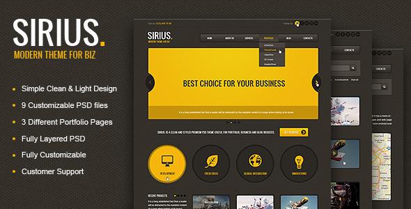 Sirius - Clean Style Portfolio PSD Template Creative
