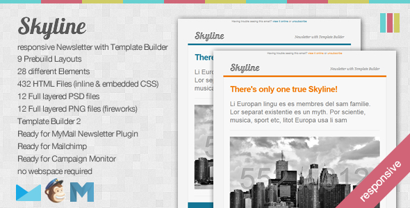 Skyline - Responsive Newsletter with Template Builder EmailTemplates