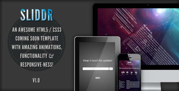 Sliddr Responsive Coming Soon Page Template Specialty Page