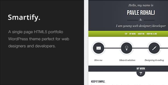 Smartify - Single Page WordPress HTML5 Portfolio Creative