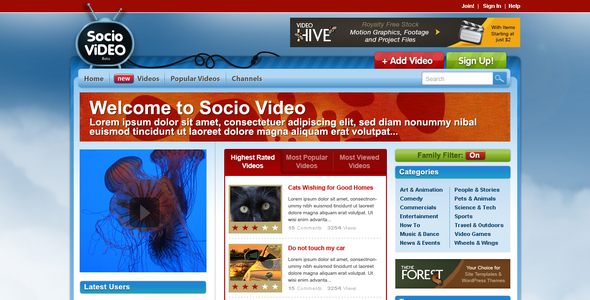 Socio Video Theme Entertainment PSDTemplates