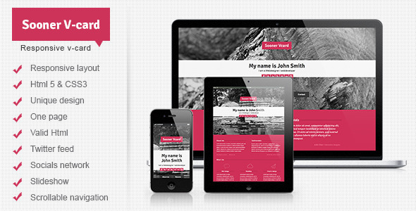 Sooner V-card Responsive One Page V-card Template Personal