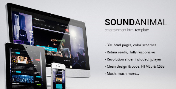 Sound animal - entertainment html template Entertainment