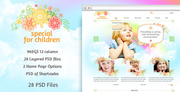Special for Children and Baby - PSD Template Retail