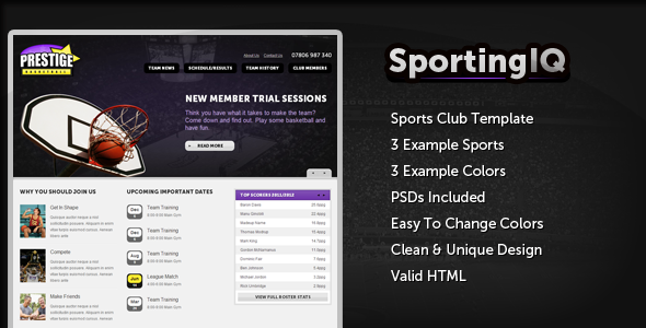 Sporting IQ - HTML Sports Template Entertainment