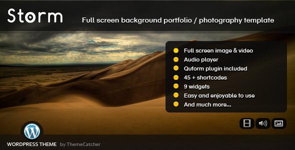 Storm WordPress - Full Screen Background Theme Creative