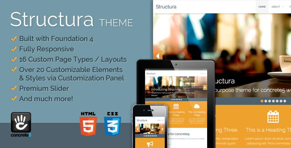 Structura Responsive Multi-Purpose Concrete5 Theme Creative