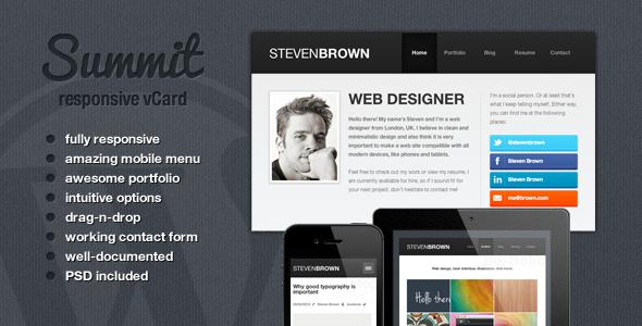 Summit - Responsive WordPress vCard Theme Creative