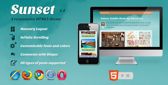 Sunset - a Responsive HTML5 theme for Tumblr