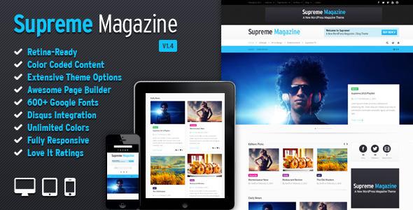 Supreme - Retina Responsive Magazine/Blog WP Theme WordPress