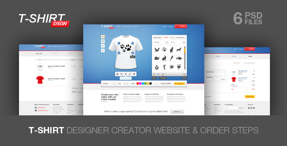 T Shirt Designer Creator and Shop Module PSD Retail