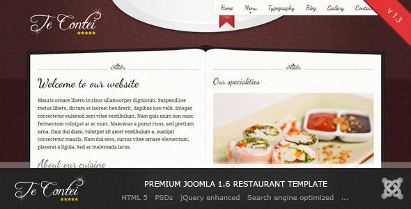 Te Contei -  Entertainment Joomla 1.6 Restaurant Template