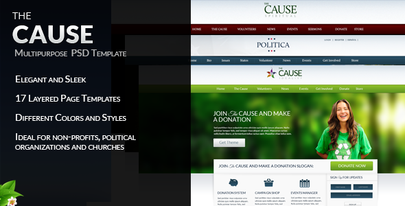The Cause - Multipurpose Non-Profit PSD Template Nonprofit